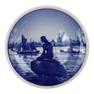 Royal Copenhagen Denmark Blue and White Ring Dish With Mermaid For Sale
