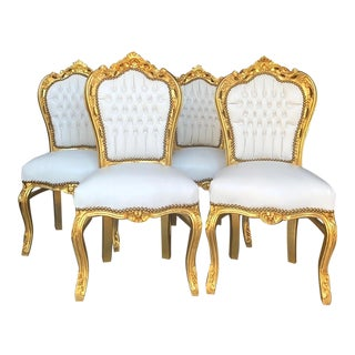 Gold and White Leather Baroque Style Chairs-4 Pieces For Sale