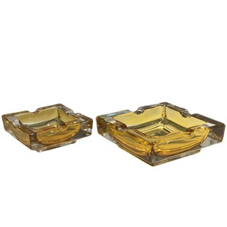 French 20th Century Vintage Glass Ashtrays, Set of Two, 1950s For Sale