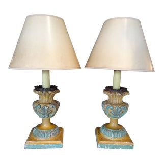 19th Century Italian Hand Carved Acanthus Motif Lamps - a Pair For Sale