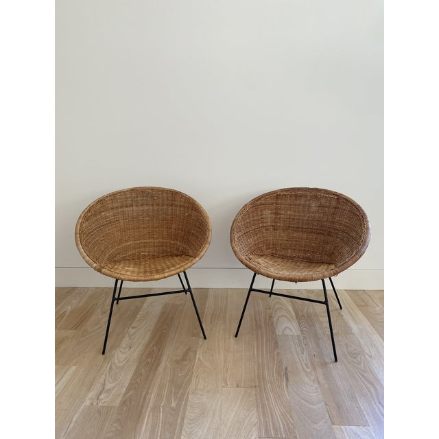 1970s French Wicker Basket Chairs - a Pair For Sale In Houston - Image 6 of 6
