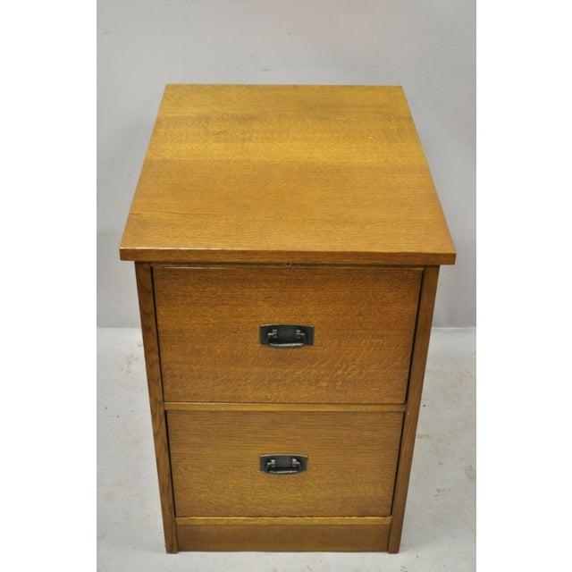 Mission L&j G Stickley Arts & Crafts Mission Oak Wood Two Drawer Office File Cabinet For Sale - Image 3 of 13