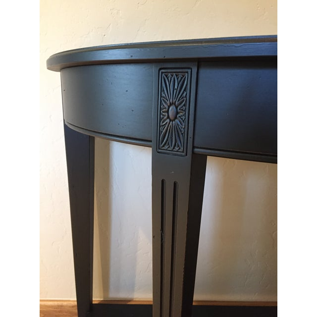 Empire Ethan Allen Charcoal Wood Demilune Sofa Table For Sale - Image 3 of 4