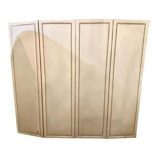 Four Panel White Linen Upholstered Screen or Room Divider With Piano Hinges For Sale