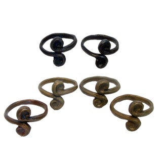 Artisan Made Bronze Napkin Rings, Set of 6 For Sale