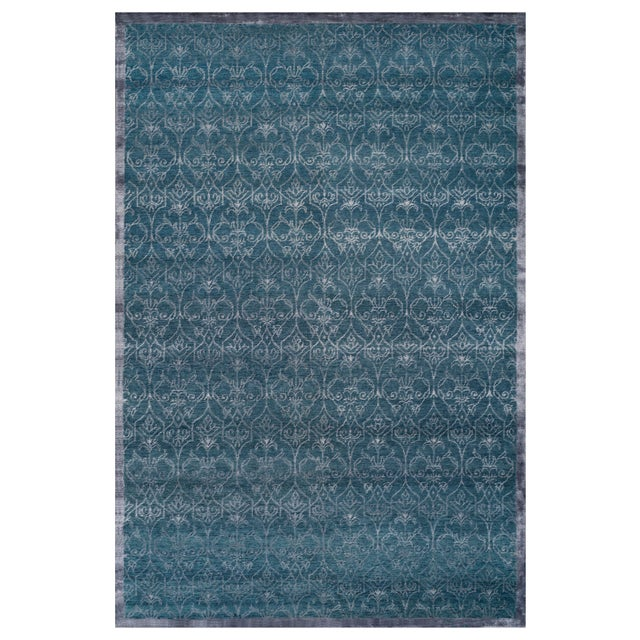 2010s Stark Studio Rugs Contemporary Oriental Wool and Bamboo Silk Rug - 6' X 9' For Sale - Image 5 of 5