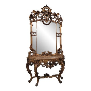 19th Century Carved Giltwood Marble Top Console With Mirror For Sale