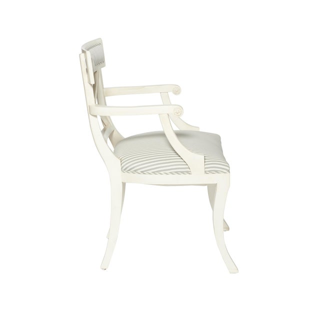 Features: Tight Upholstery, Double Row Self-Welt, Hand-Carved European Beechwood Frame with Open Arms Wood finish:...
