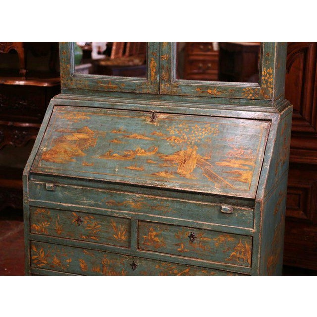 18th Century Italian Hand Painted Secretary Bookcase With Chinoiserie Decor For Sale In Dallas - Image 6 of 12