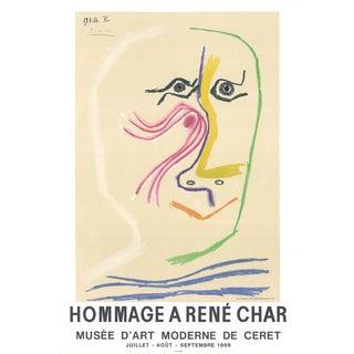 1969 Pablo Picasso 'Hommage a Rene Char' Cubism Pastel,Multicolor France Lithograph For Sale