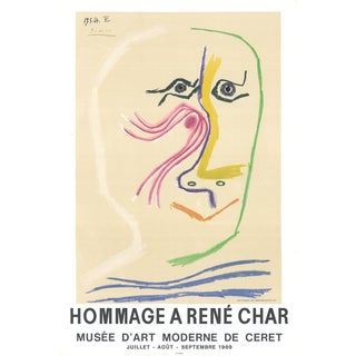 "Pablo Picasso Hommage a Rene Char 31"" X 20"" Lithograph 1969 Cubism Pastel, Multicolor For Sale"