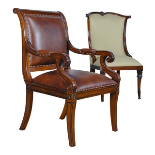 Regency Leather Arm Chair For Sale