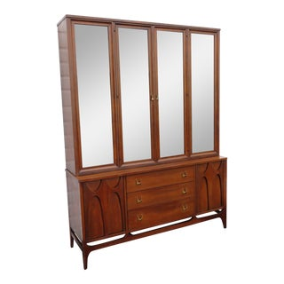 Mid Century Modern 2 Part China Display Cabinet Credenza Sideboard Brasilia For Sale