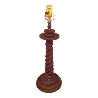 Vintage Brown Wooden Barley Twist /Spiral Lamp For Sale