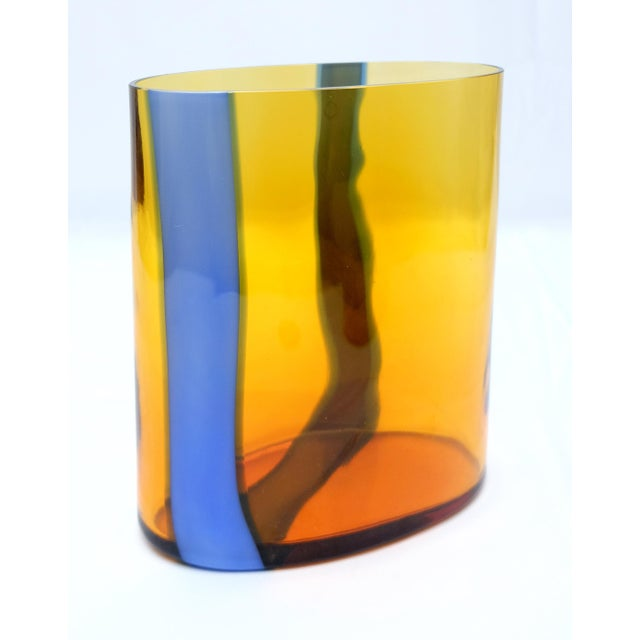 V. Nason & C., Italy Amber and Blue Murano Glass Vase Set Offered for sale is a two-piece amber and blue Murano Glass...