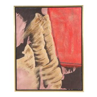 Vintage Mid-Century Framed Ron Burnett Abstract Oil Painting For Sale