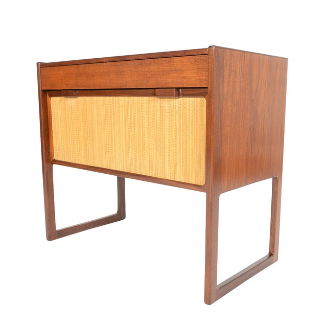 Danish Modern Teak and Grasscloth Entry Chest - Image 1 of 10