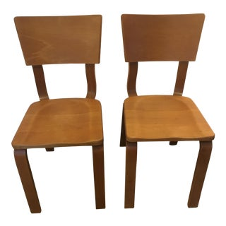 Vintage Mid Century Thonet Bentwood Solid Wood Chairs - a Pair For Sale