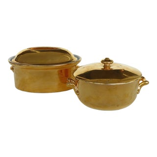 Royal Worcester Gold Luster Covered Oven Proof Oval & Round Casserole Dishes For Sale