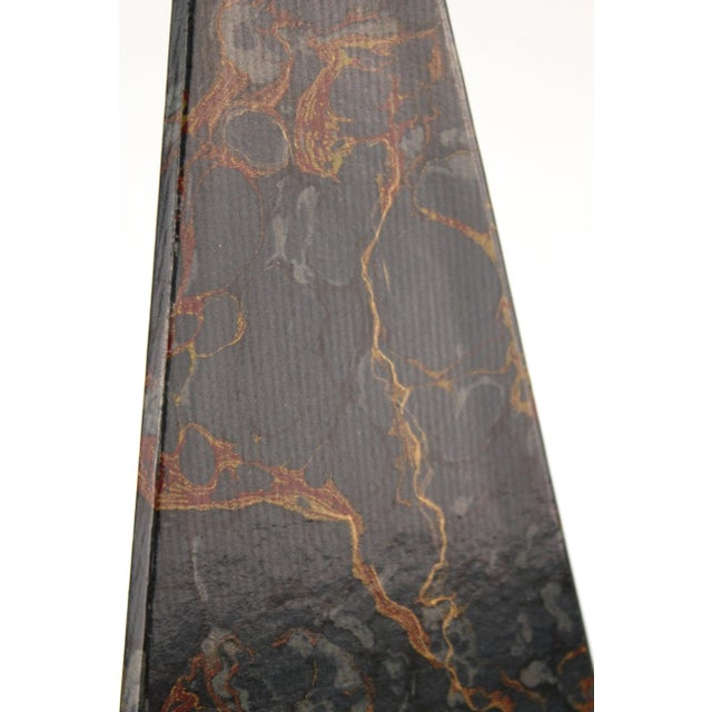 Black Neoclassical Style Obelisks in Marbled Paper and Gold Foil - a Pair For Sale - Image 8 of 11
