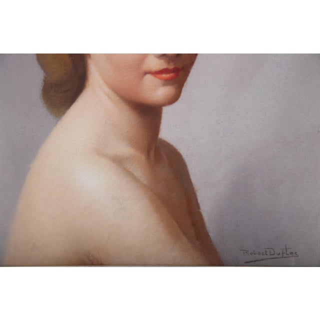 Pastel Portrait of a Woman by Listed Artist Robert Louis Raymond Duflos For Sale - Image 4 of 11