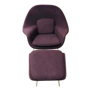 Mid-Century Modern Authentic Eero Saarinen for Knoll Purple Womb Chair and Ottoman For Sale