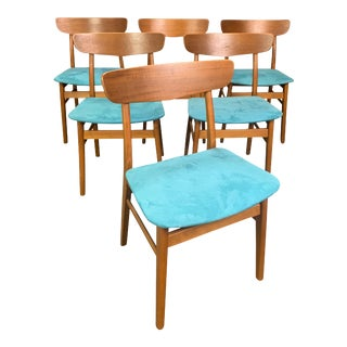 Set of Six Vintage Mid Century Danish Modern Teak Dining Chairs by Findhahls Mobelfabrik For Sale