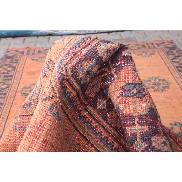 "Orange 1960's Vintage Turkish Hand-Knotted Wide Runner Rug - 4'1"" X 11'5"" For Sale - Image 8 of 11"
