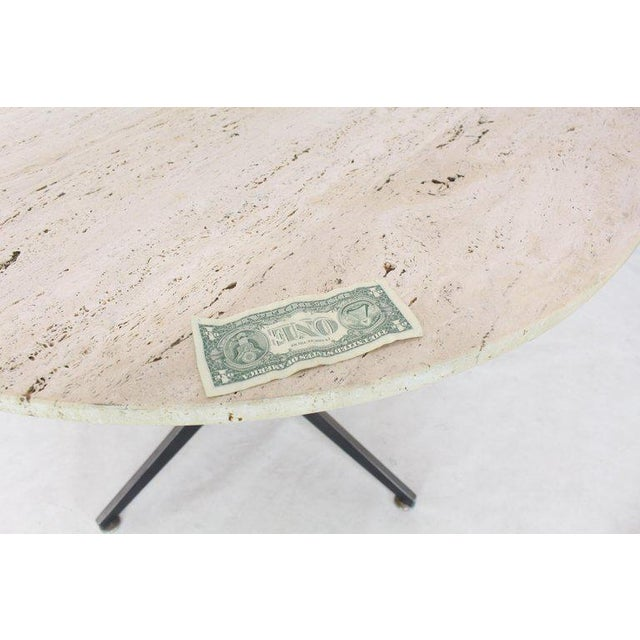 Osvaldo Borsani Round Travertine Top Fabricated Aluminium X-Base Cafe Dining Table For Sale - Image 4 of 8