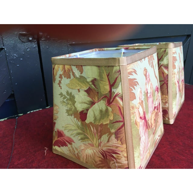 2020s Newly Made Antique French Scene Fabric Lampshades - a Pair For Sale - Image 5 of 6