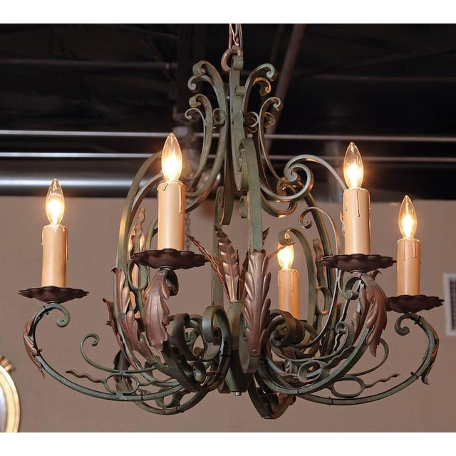 Early 20th Century French Six-Light Iron Chandelier With Verdigris Finish - Image 2 of 10