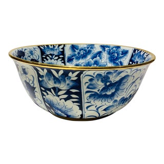 Hand Painted Cobalt Blue and White Large Serving Bowl For Sale