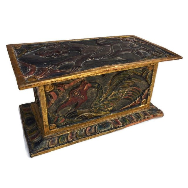 Vintage Balinese Alter Wood Carved Offering Box For Sale - Image 4 of 13