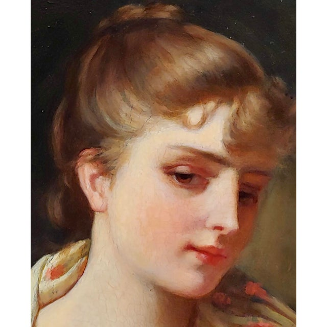 """Paint 19th Century Gustave Jean Jacquet """"Portrait of an Elegant Young Lady"""" Oil Painting For Sale - Image 7 of 11"""