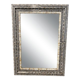 Rectangular Mother of Pearl and Bone Mirror For Sale