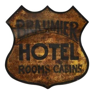 1900 Antique Metal Hotel Advertising Sign For Sale