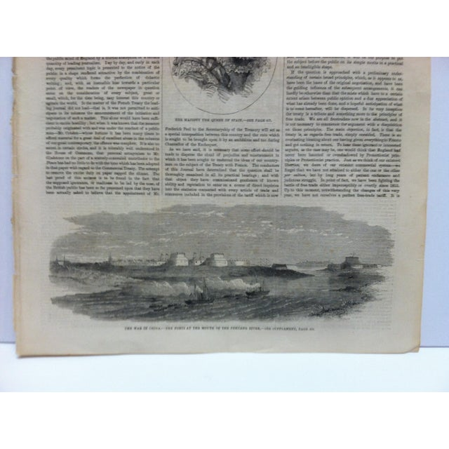 """English 1860 Antique Illustrated London News """"The War in China: The Forts at the Mouth of the Pehtang River"""" Print For Sale - Image 3 of 5"""