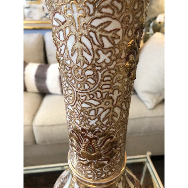 Gold Antique Asian Vase With 24k Gold Accents For Sale - Image 8 of 9