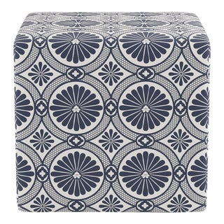 Cube Ottoman in Midnight Lellani For Sale
