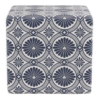 Cube Ottoman in Midnight Lellani For Sale