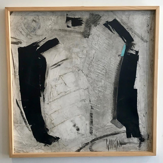 Original large format black and white abstract on canvas with depth added by the impasto detail. Mixed media on paper...