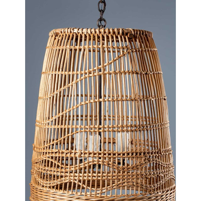 A super vintage French hand woven basket chandelier light fixture circa 1920. Please enlarge the photographs to see the...
