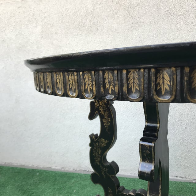 Late 20th Century Late 20th Century Vintage Hand Painted Ebony & Gold Demi-Lune Table For Sale - Image 5 of 8