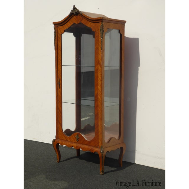 Vintage French Provincial Curio Cabinet Display Case Vitrine W Burlwood and Ormalu For Sale - Image 13 of 13
