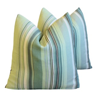 """Belgian Green Striped Linen Feather/Down Pillows 21"""" Square - Pair For Sale"""
