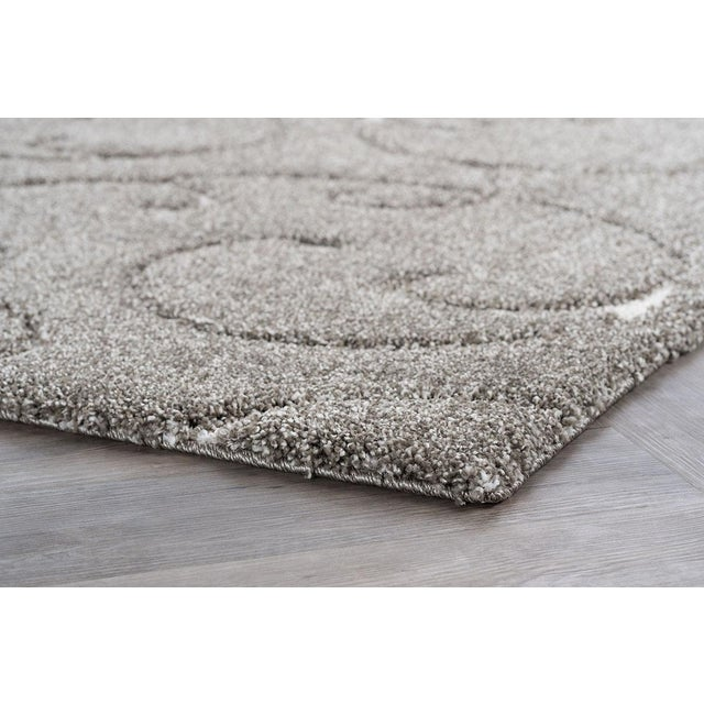 """Berkshire Shag Scrollwork Gray Transitional Small Area Rug - 3'3"""" x 5' For Sale - Image 4 of 10"""