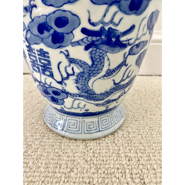 Mid 19th Century Chinoiserie Blue & White Porcelain Vase For Sale - Image 5 of 10