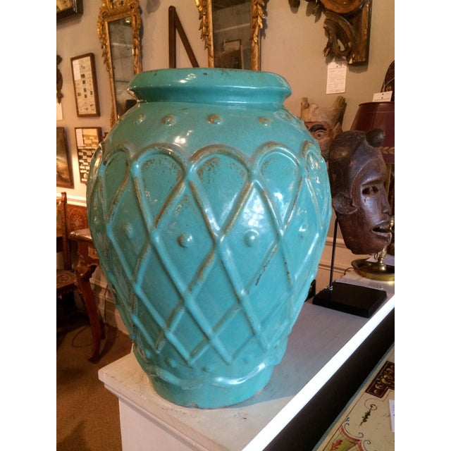 Traditional Turquoise Glaze Jar by Galloway For Sale - Image 3 of 9