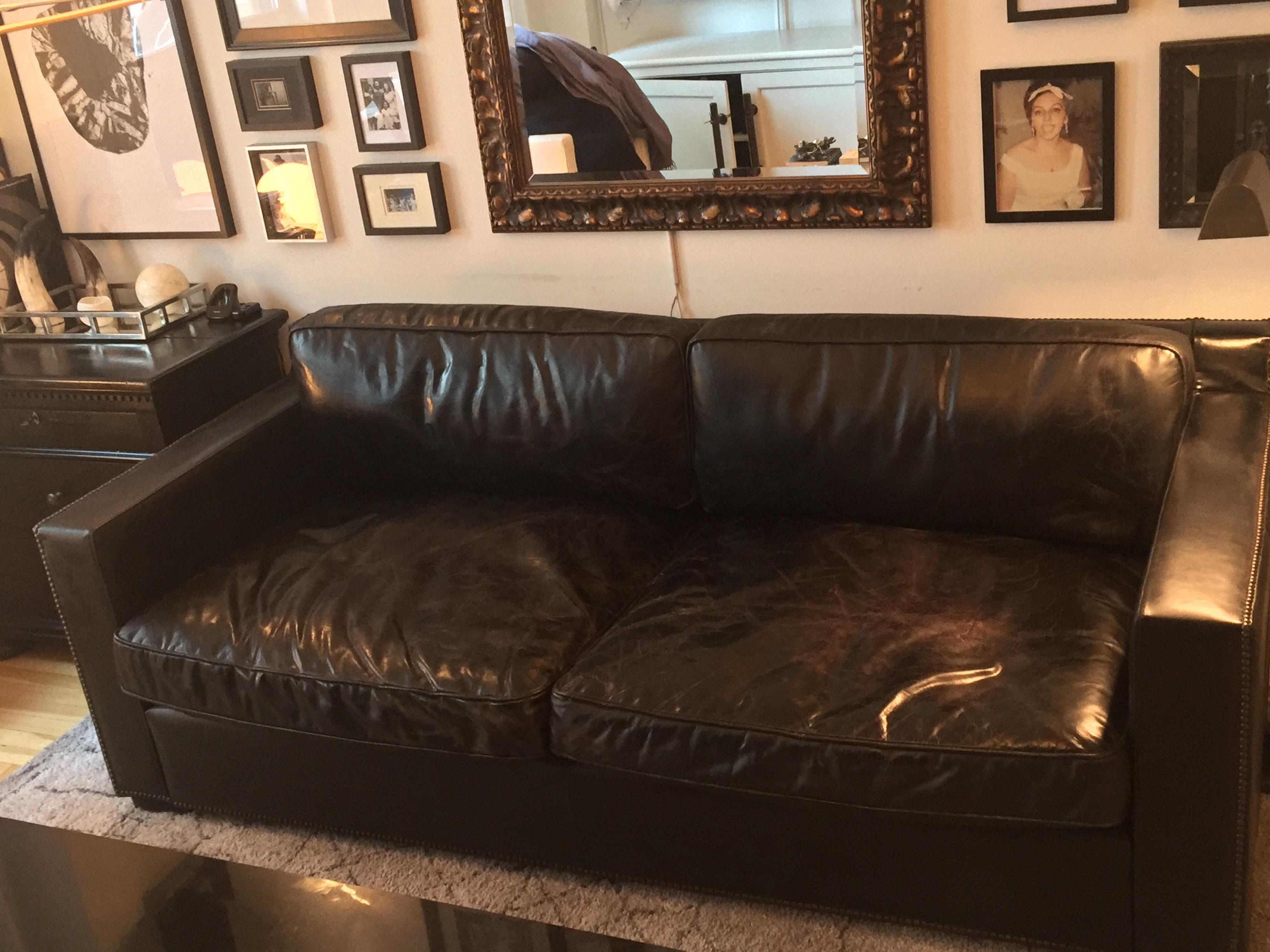 Animal Skin Restoration Hardware Ebony Leather RH Collins Sofa For Sale    Image 7 Of 11