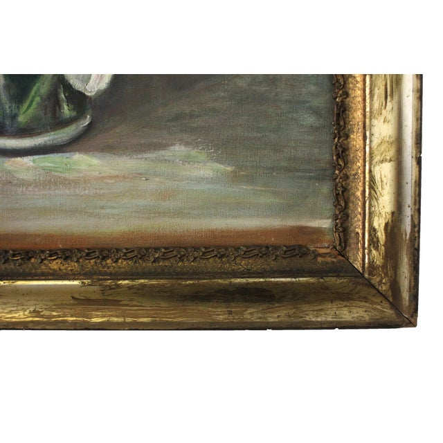 Mid-Century Iris Oil Painting by Jane Cramer For Sale In Austin - Image 6 of 8
